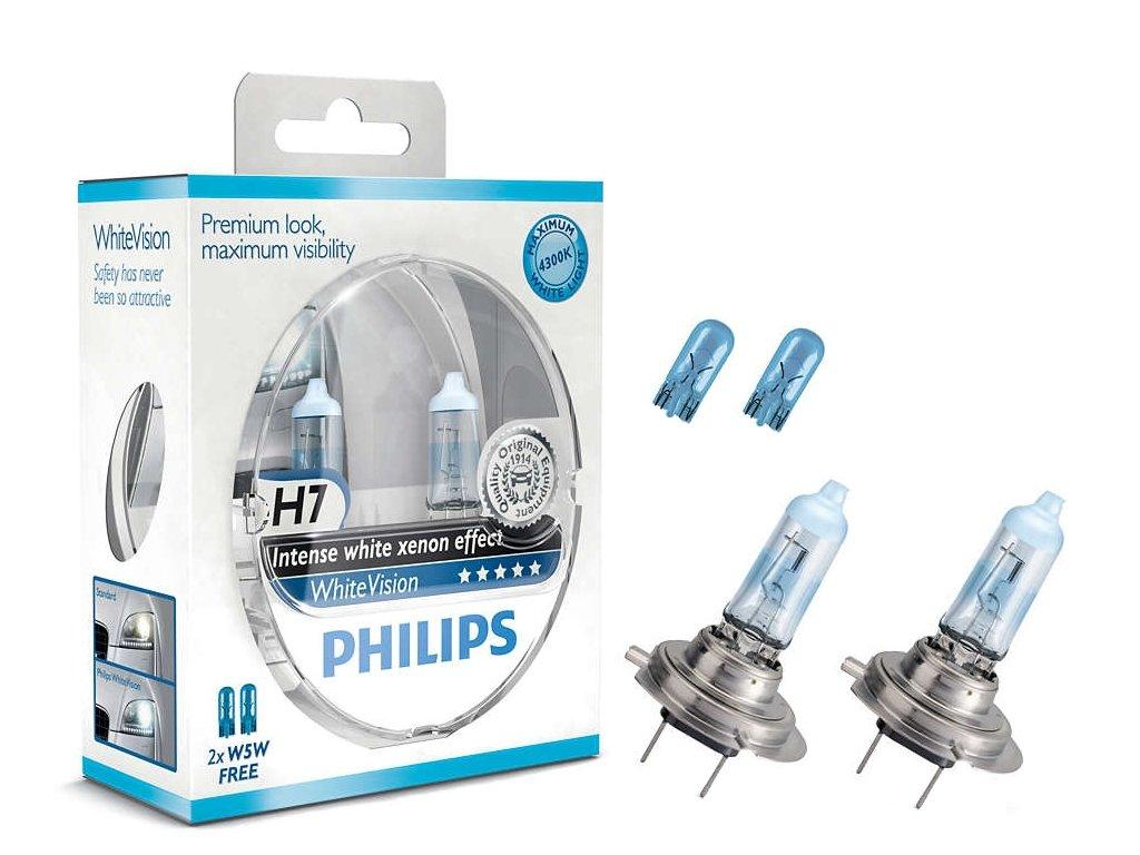 Autožárovka H7 12V WhiteVision 12972WHVSM Philips 2kusy + zdarma 2x W5W